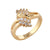 Women Fashion Elegant Bling Rings Gold-plated Rings Wedding Crystal Diamond Rings Charm Jewelry Gold Rings