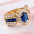 Women Fashion Elegant Bling Sapphire Rings Gold-plated Wedding Crystal Diamond Rings Charm Gold Rings Jewelry