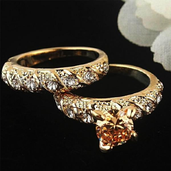 2Pcs/Set 18K Gold Diamond Rings Engagement Wedding Rings for Women Size 7 8 9