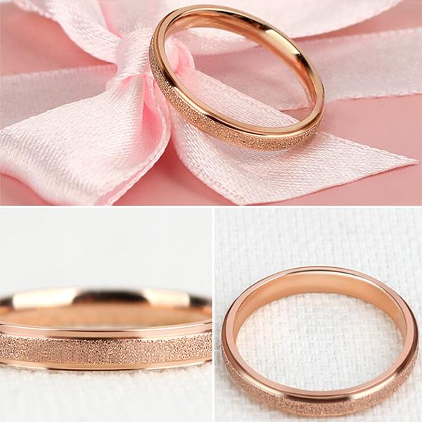 2mm Rose Gold Sandblast Ring Titanium Steel Wedding Ring for Women Girl Size 3-9