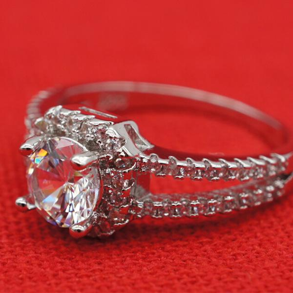 New Fashion 925 Sterling Silver Rings Bling Crystal Zircon Rings Wedding Rings for Women Size 5 6 7 8 9 Jewellery