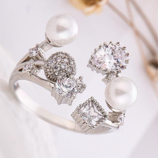 New Fashion Copper Plated Platinum Adjustable Ring Engagement Wedding Rings Flower Pearl Diamond Opening Rings for Women