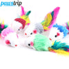 10Pcs/lot Soft Fleece False Mouse Cat Toys Colorful Feather Funny Playing Toys For Cats Kitten - upcube