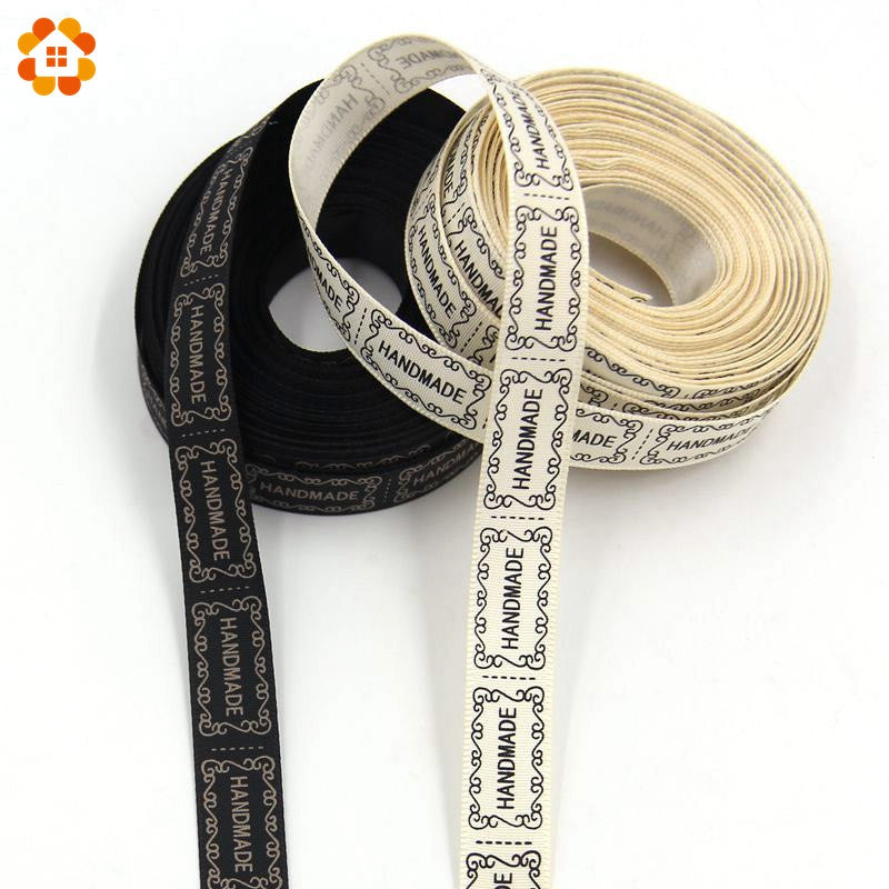 10Yard/Lot 13MM Beige And Black Printed Handmade Design Ribbon For Wedding DIY Crafts Gift Packing Belt & Sewing Accessories - upcube
