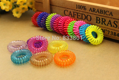 10pcs/lot 28mm Child baby Telephone Cord Elastic Ponytail Holders Hair Ring  Accessories Girl Women Rubber Bands Tie Gum