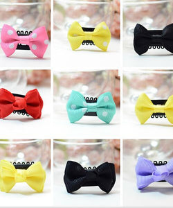 10pcs/lot Mini Small Bow Hair Clips Baby Solid Dot Bow Hairpin Children Boutique Barrettes For Girls Kids Hair Accessories R12