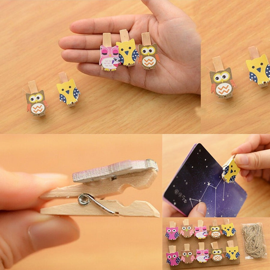 10pcs/lot Mini owl Wooden Photo Paper Peg Pin Clothes pin Craft Postcard Clips Home Crafts Decoration With Rope - upcube