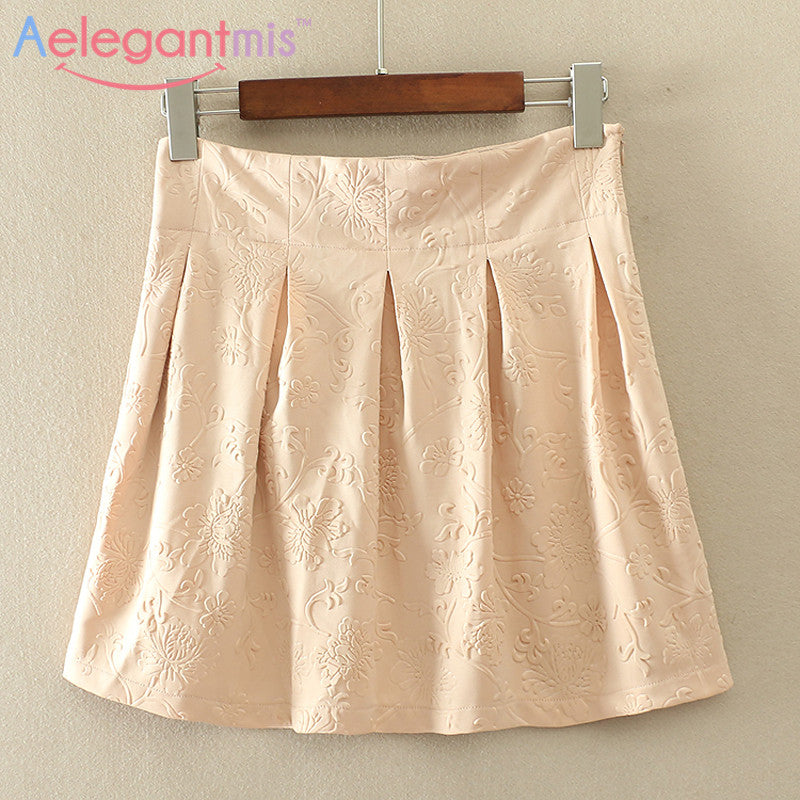 (11.26 Special Offer) Aelegantmis High Waist A-line Floral Mini Skirt Women - upcube
