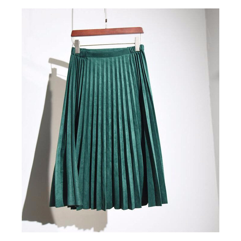 11 color 2016 autumn winter Fashion Retro pleated suede skirts high quality skirt casual style solid color skirts - upcube