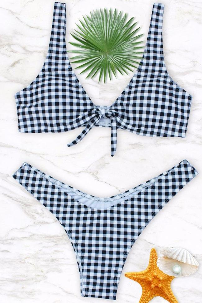 a6499d3bad9fb Hot Gingham Printed Knotted Thong Bikini Swimsuit - Two Piece Set. Quick  View