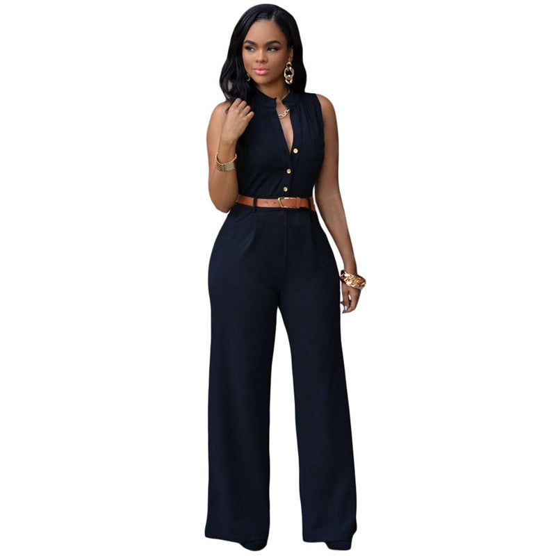 12 Colors Fashion Big Women Sleeveless Maxi Overalls Belted Wide Leg Jumpsuit macacao long pant Elegant Jumpsuits - upcube