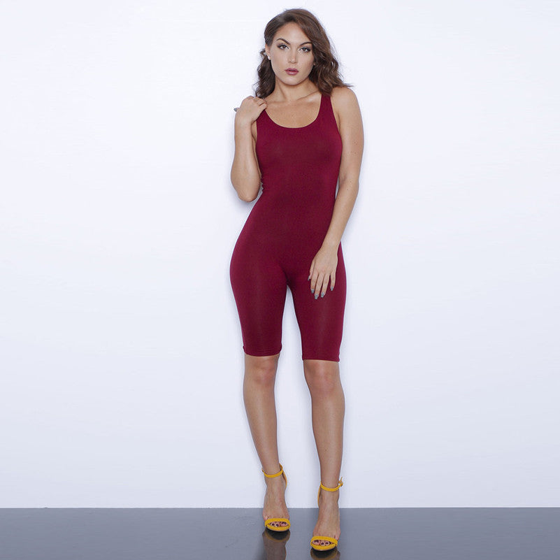 13%N5206ZS Women Plus Size Sexy Full Bodysuits Casual O-neck Solid Slim Sleeveless Skinny Jumpsuits Short Female Rompers - upcube