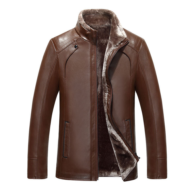1508  New Fashion leather male middle-aged men in autumn and winter fur collar coat business sheepskin leather jacket Leather European and American Supermarket Wholesale Inventories- upcube