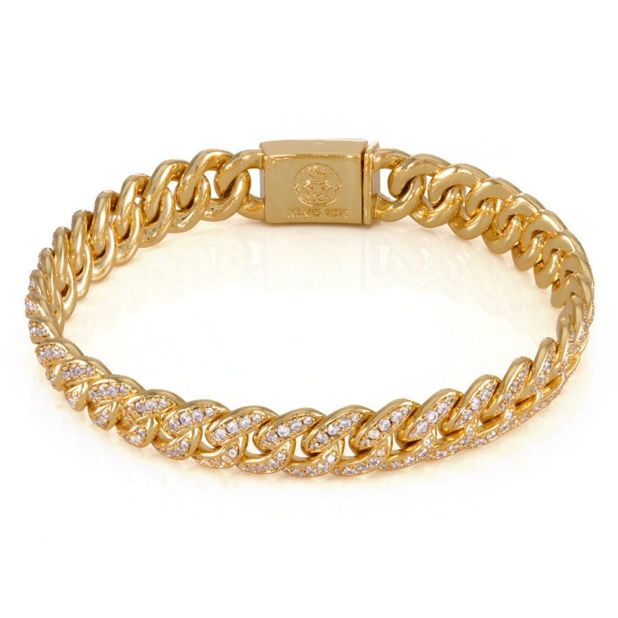 "14K Gold 10mm ""Studded"" Miami Cuban Curb Bracelet - upcube"