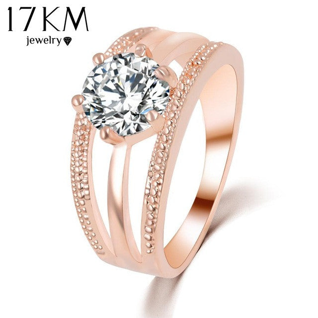 17KM Austrian Crystals Ring Rose Gold Color anelli Flower Ring bague Engagement anillos anel Rings for Women wedding ring Rings 17KM Official Store- upcube