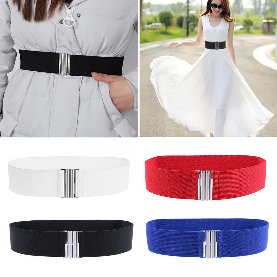 1PC 2017 Newest Hot Sale Fashion Women Silver Buckle Wide Stretch Elastic Leather Belts Corset Waist Lady Sexy Belts Waistband