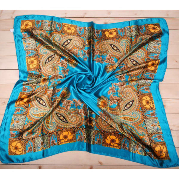 1PC 90*90cm Fashion Silk Flower Printed bandana scarf  cachecol shawl for Women foulard bufandas swimsuit A2 Scarves Fantaisie- upcube