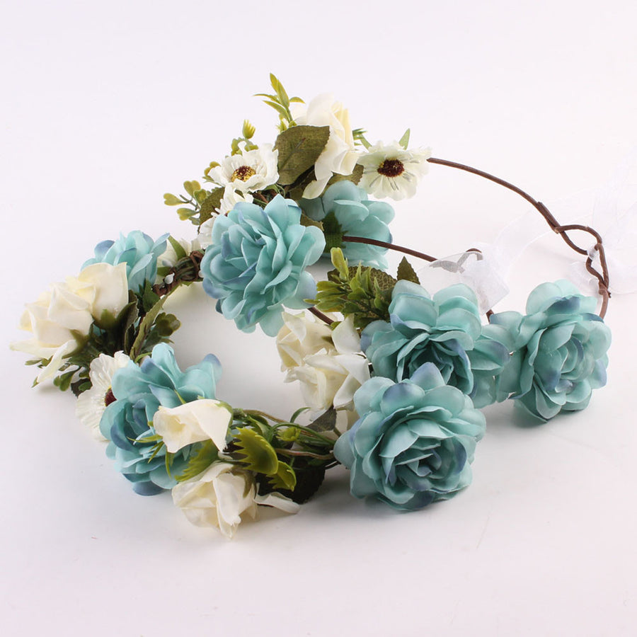 1PC New Fashion Spring Summer Mommy & Kids Wreath Flowers Headband Floral Crown Hairbands Wedding Girls Headwear Baseball Caps Malaysian monkey of Debbie_- upcube