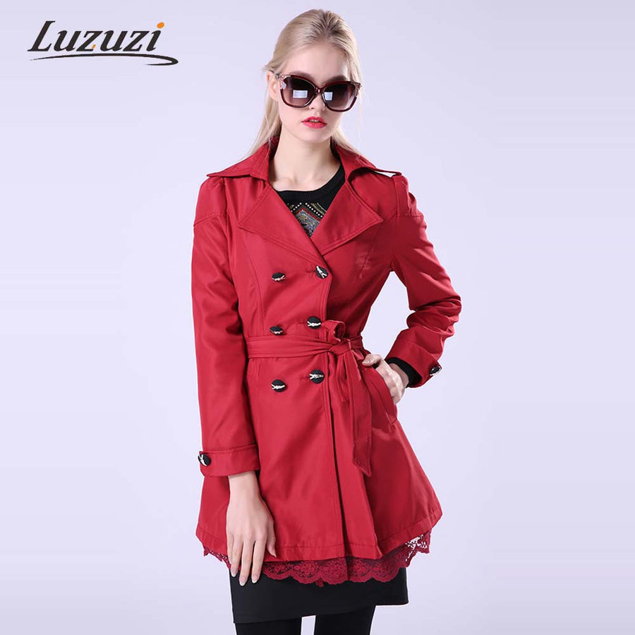 1PC Trench Coat For Women Spring Autumn Long Coats with Lace Patchwork Double Breasted with Sashes Female Fashion Overcoat WS015 Trench Shop2348363 Store- upcube