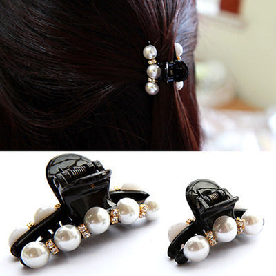 1Pc Black Claw Clip Crystal Pearl Plastics Hair Clip For Women/Baby Party Festival Rhinestone Hairpin Hairgrip Hair Accessories Hair Accessories EaseRom Store- upcube