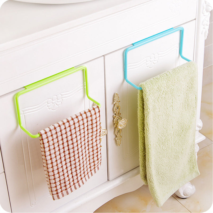 1Pc Candy Colors Over Door Tea Towel Holder Rack Rail Cupboard Hanger Bar Hook Bathroom Kitchen Top Home Organization