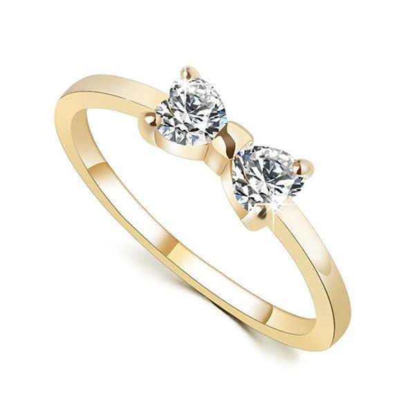 Luxury Austria Crystal Rings Gold Plated Finger Bow Ring Women Wedding Engagement Diamond Rings Jewelry
