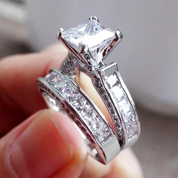 Women Lady Zircon Lovers Valentine Gift Diamond Ring Wedding Rings Luxury Jewelry