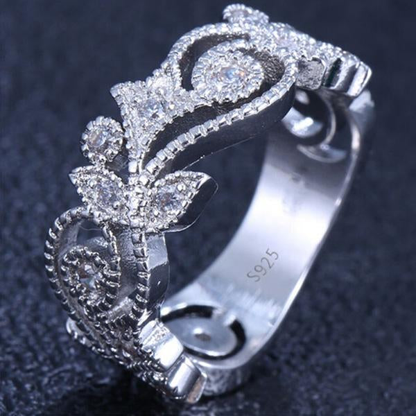 Beautiful Women's 925 Sterling Silver Floral Ring Flower Leaf Diamond Jewelry Gift Wedding Band Rings