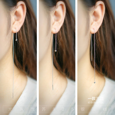1pair Real. 925 STERLING SILVER Ear Pull Through Ball&Tassel Threader Earrings Long Charms Fine jewelEry for Women's GTLE564 Jewelry Smile Morning's store- upcube