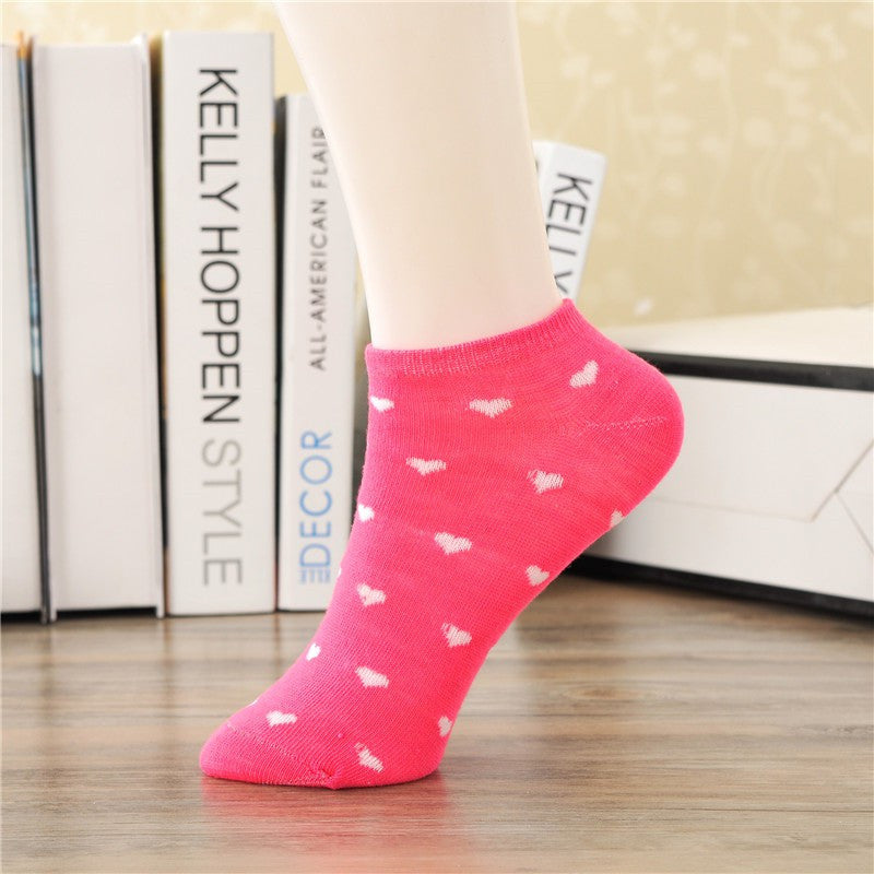 1pair Women Socks Candy Color Dot Socks Casual Cute Heart Ankle High Low Cut Cotton Socks 10 Colors  Yancey- upcube
