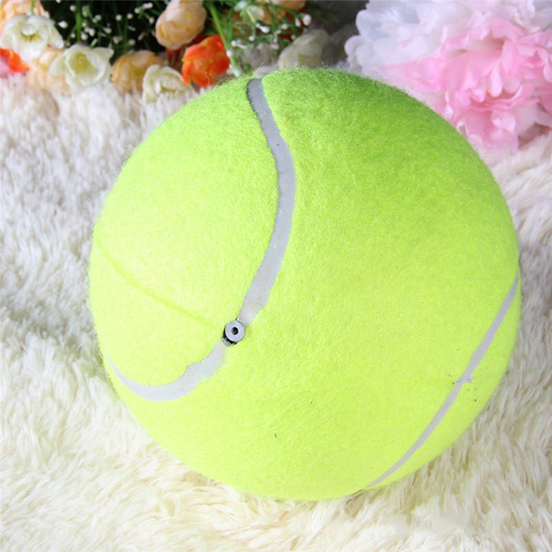 1pc 24CM Giant Tennis Ball For Pet Chew Big Inflatable Tennis Ball Signature Mega Jumbo Pet Toy Ball Supplies Outdoor Cricket Dogs Getyoursave- upcube
