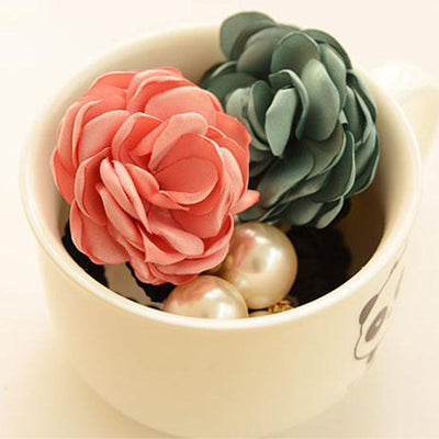 1pc Beautiful Fabric Flower Peal Hair Rose Flower Scrunchie Ponytail Hairband Hair Bands Rope Hair Clips Women Headwear Hair Accessories DesignForYou Store- upcube