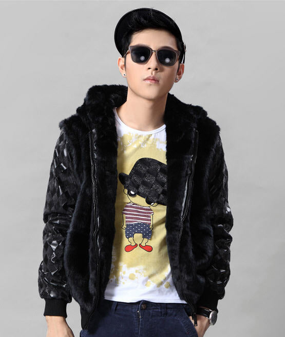 2013 new men's fur coat Korean Slim pu leather stitching for fur collar jacket winter hooded long sleeve outwears H1835 Leather SunBrand Technology CO.,LTD- upcube