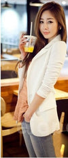 2014 autumn female medium-long blazer outerwear long-sleeve chiffon patchwork suitF4230 Trench Fashion Shop 4- upcube