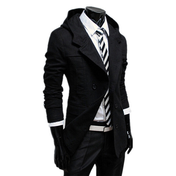 2015 Hot Fashion autumn and winter mens trench coat double-breasted design Hooded trench coat Solid Slim Men Casual Jacket Coat Man's World Clothing Store- upcube