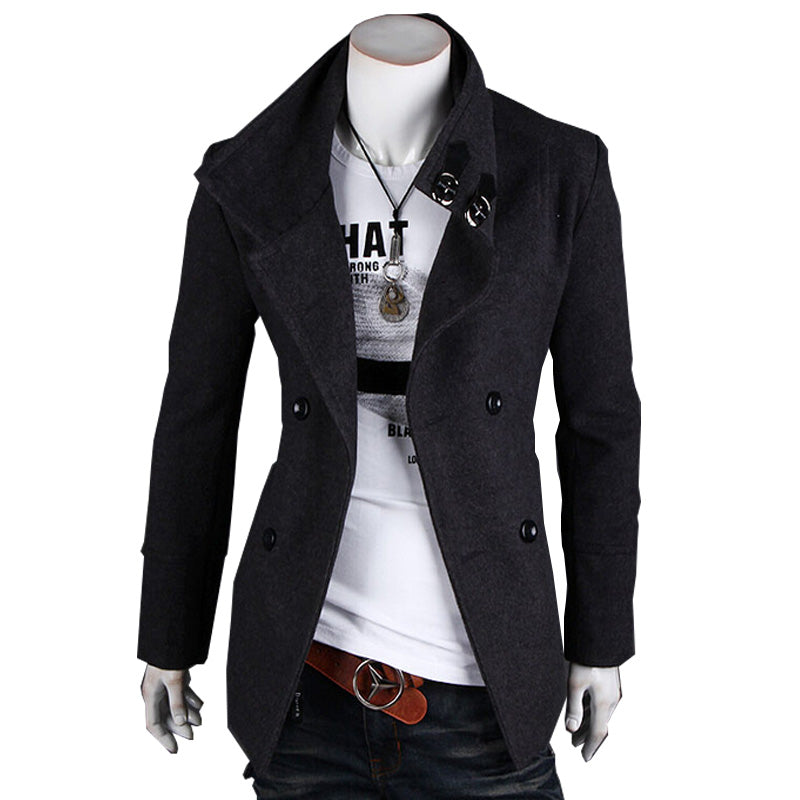 2015 Hot Sale autumn winters woolen coat mens double breasted trench coat jacket outerwear coats Coat Man's World Clothing Store- upcube