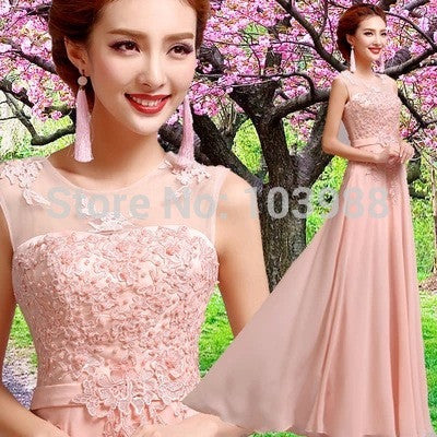 2015 New Bridemaid/evening/prom/party dress with appliques in Stock size ( 7 Sizes to choose) Flower Girl Dresses Buy-Evalue- upcube