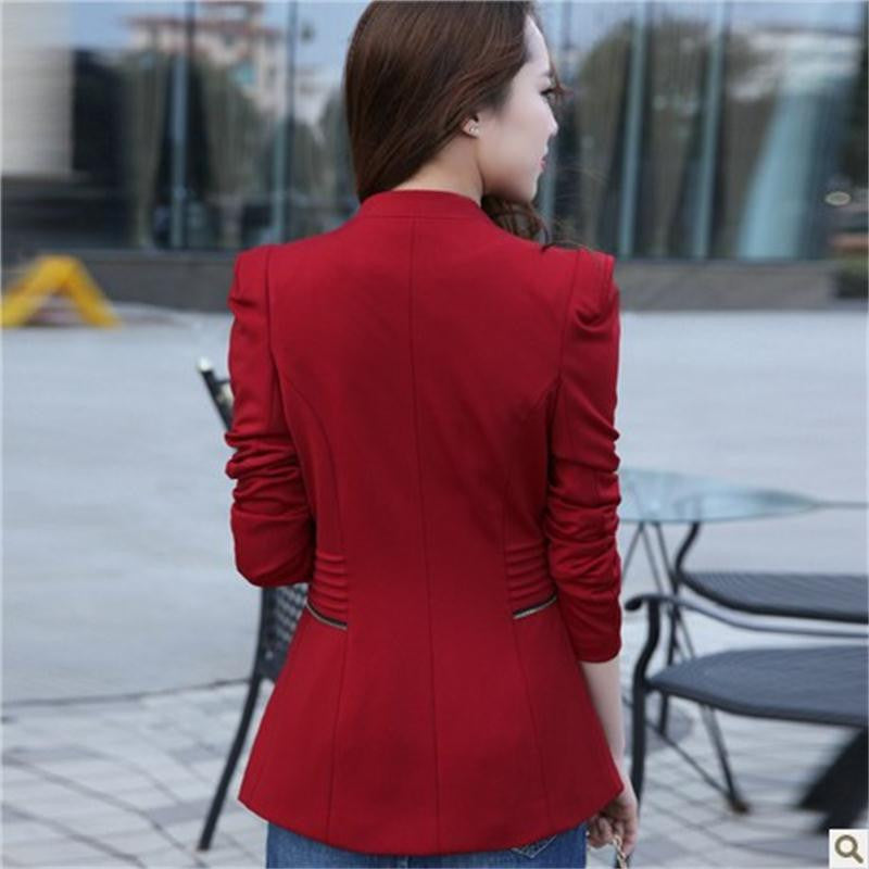 2015 New Fashion Women Solid Zipper Blazers Long Sleeve Slim Small Leisure Suit Jacket Female Brand Women Blazers 3Colors S-XXL Blazers WingWing- upcube