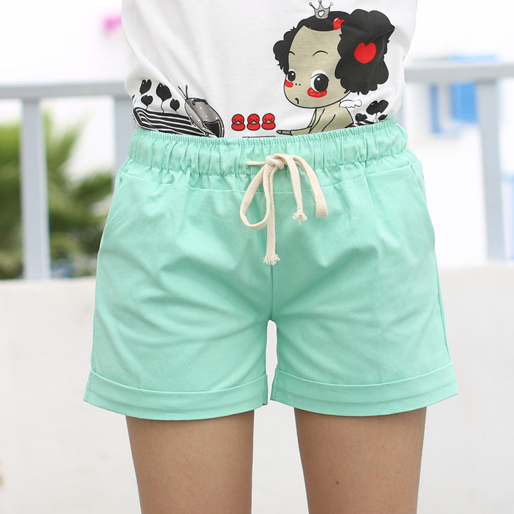 2015 Summer Style Shorts Candy Color Elastic With Belt  Short Women  SH222 womens shorts WingWing- upcube
