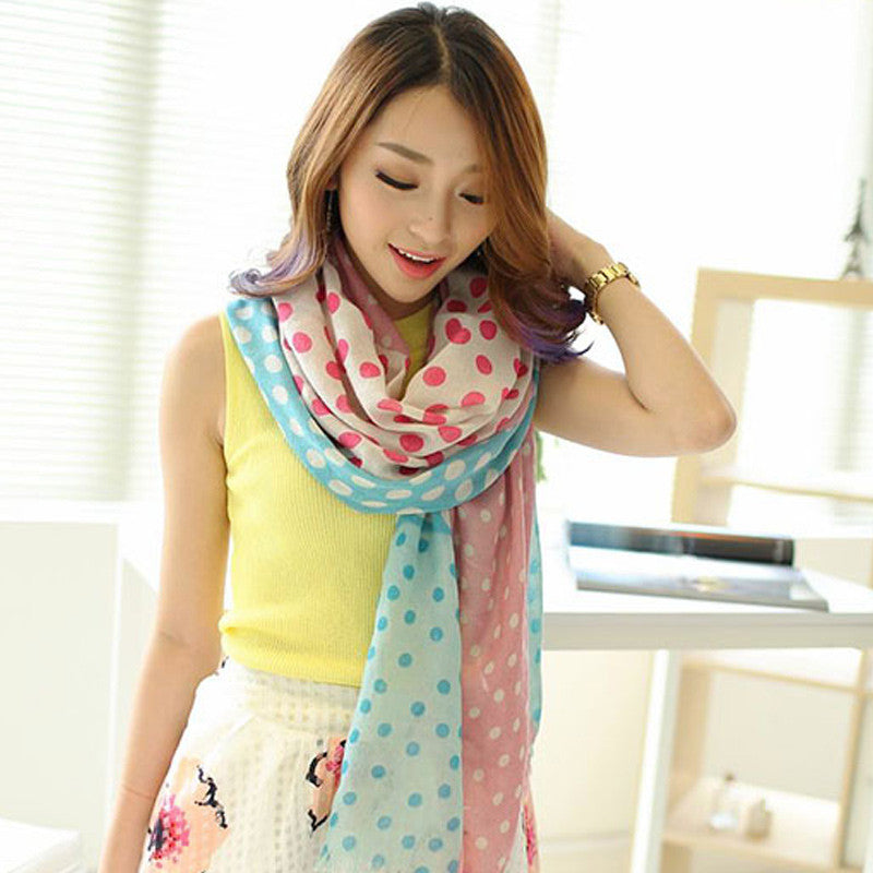 2015 Women Brand Silk Dot Scarf Long Winter Warm Birthdays Gift hot sale scarf women 180x90cm Scarves Moresell- upcube