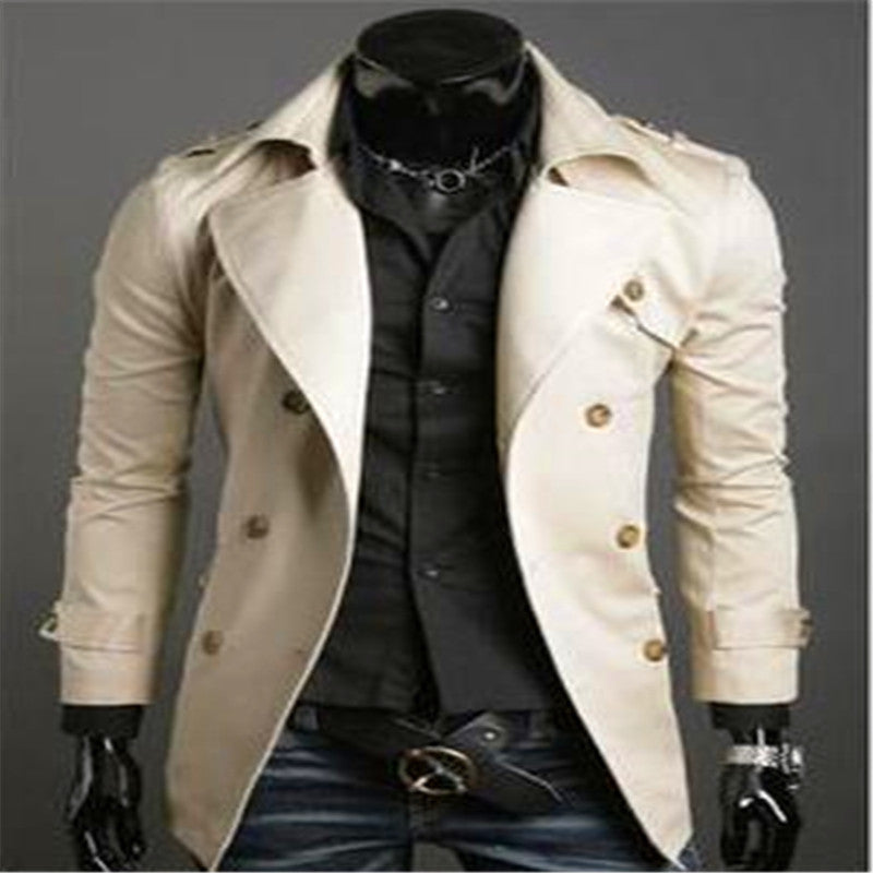 2015 autumn new Comfortable Fashion Paragraph dust coat grows in autumn and winter with men Double-breasted coat lapels Coat man costume Store- upcube