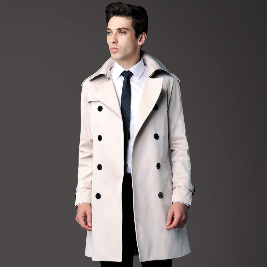 2015 autumn new style of classic Prince beige double-breasted long coat male models windbreaker genuine popularity Coat URsmart Official flagship store- upcube