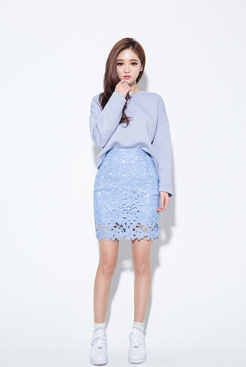 67e0b0b5d5 2016 Autumn Solid Color Lace Skirts Womens Vintage High Waist Skirt Fashion  Large Size Knee Length