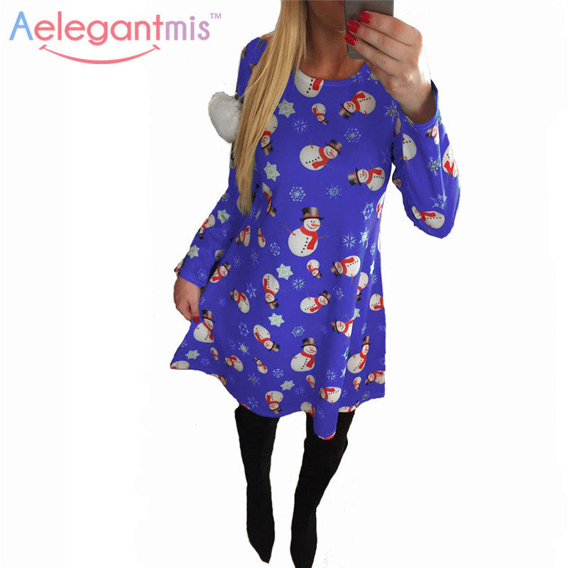 9575b9d9964 2016 Autumn Women Christmas Party Dress Ladies Fashion Snowman Deer Printed  Cartoon Long Sleeve O-