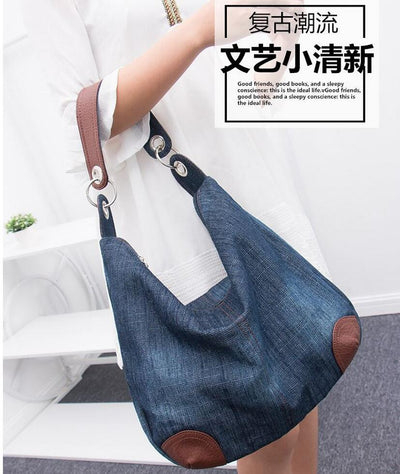 2016 Denim Handbags Large Women Bag Big Hobo Purses Ladies Hand bags Jean  Shopper Tote Luxury f7cec2476c734