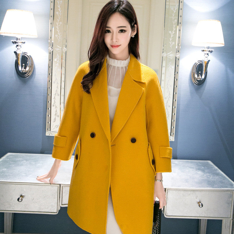 2016 Fashion Korean Wool Long Notched Coat Women Casual Solid Blazers Plus Size Elegant Outwear  A9088 Blazers WingWing- upcube