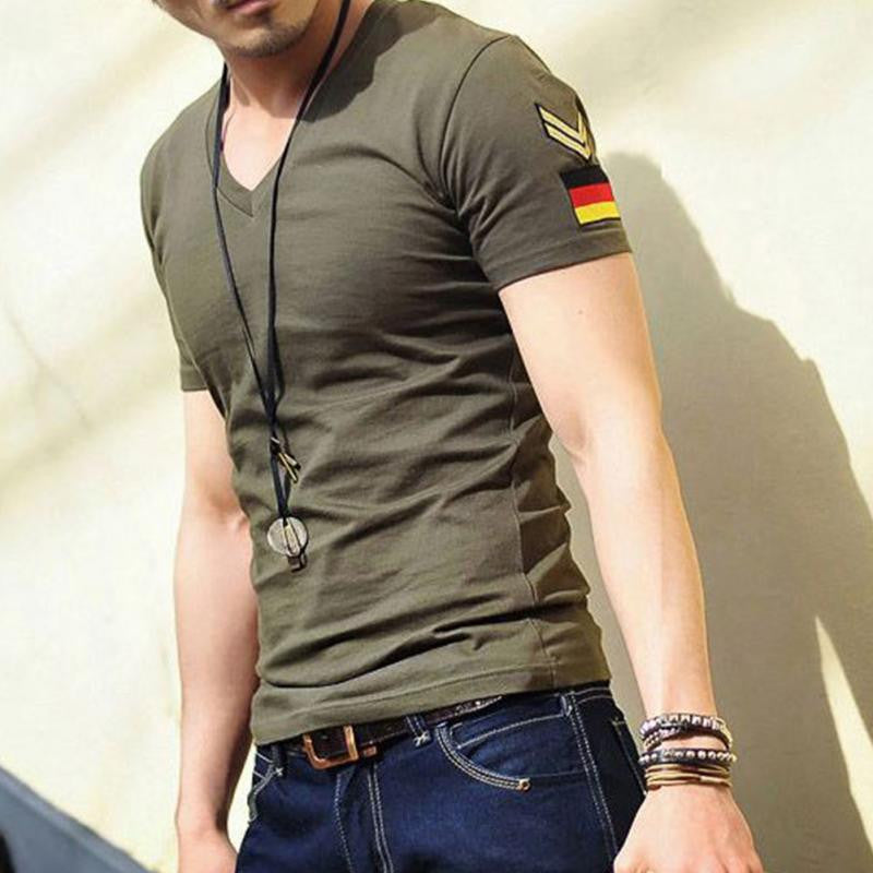 2016 Fashion Men\'s T-Shirt Summer Cotton Undershirt Military T Shirt Men Germany\'s Armband Tee Shirts V-neck Black Man Tops