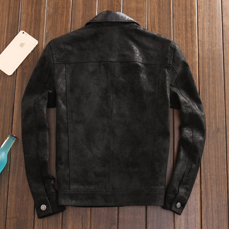 2016 Fashion New men's leather Jacket men slim Genuine leather shirt pigskin clothing mens leather suede coat jaqueta de couro