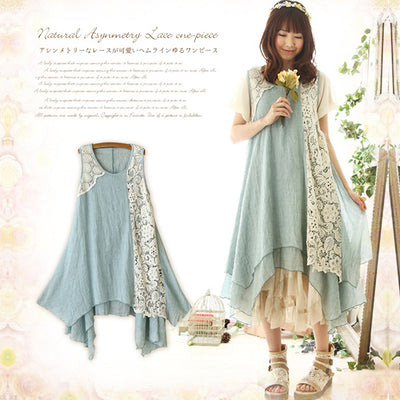 2016 Forest Girl Style Ruffle Loose Plus Size Lace Patchwork Elegant V