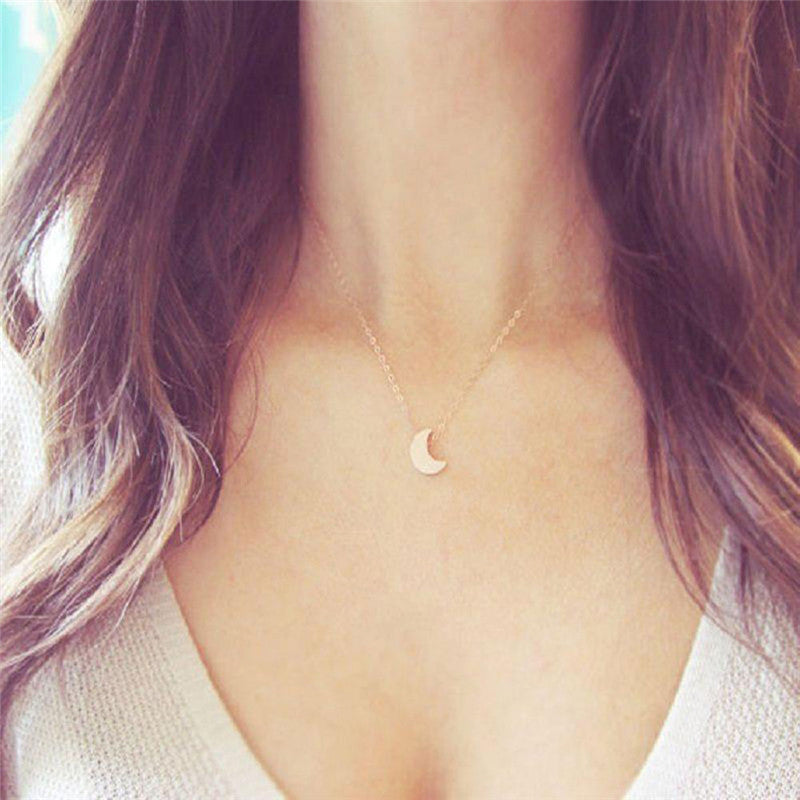 2016 Minimalist Crescent Moon Silver Gold  Long Necklace Women Jewelry Solid Chain Pendant  Necklace